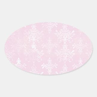 soft pink distressed damask pattern stickers