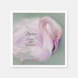 Soft Pink Flamingo Pastel Custom Party Paper Serviettes