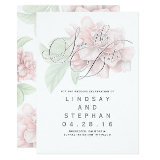 Soft Pink Flower Typography Elegant Save the Date Card