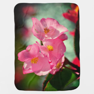 Soft Pink Flowers Buggy Blankets
