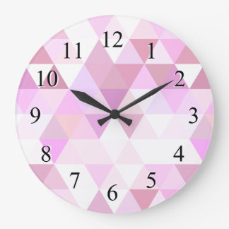 Soft Pink Geometric Triangle Pattern Clocks