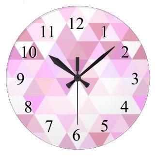 Soft Pink Geometric Triangle Pattern Large Clock