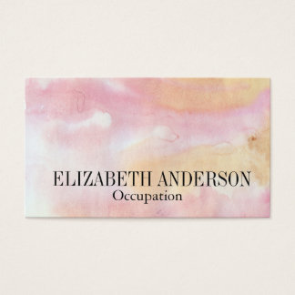 Soft Pink & Gold Hand Painted Watercolor Effect Business Card