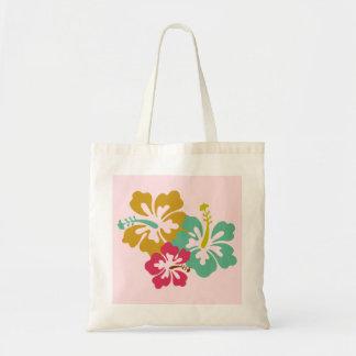 Soft Pink Hawaiian Hibiscus Grocery Tote