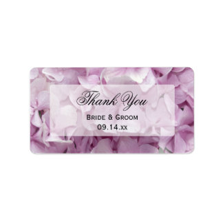 Soft Pink Hydrangea Floral Thank You Favor Tags Address Label
