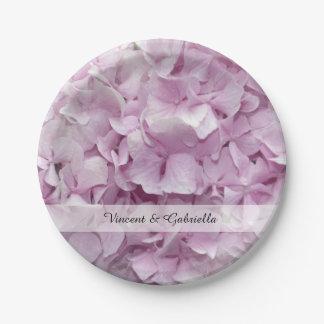 Soft Pink Hydrangea Flowers Wedding Paper Plate