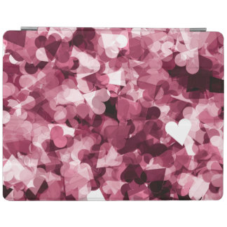 Soft Pink Kawaii Hearts Background iPad Cover