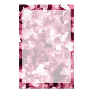 Soft Pink Kawaii Hearts Background Stationery