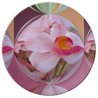 Soft Pink Orchid Abstracted Porcelain Plates