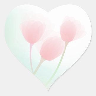 Soft Pink Pastel Tulips Wedding Heart Sticker