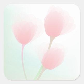 Soft Pink Pastel Tulips Wedding Square Sticker