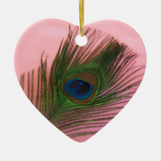 Soft Pink Peacock Still Life Christmas Ornament