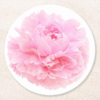 soft pink petals round paper coaster