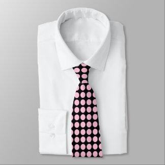 Soft Pink Polka Dots Black Tie