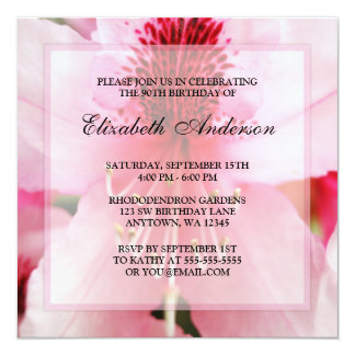 Soft Pink Rhododendron Flowers 90th Birthday Party 13 Cm X 13 Cm Square Invitation Card