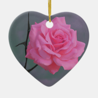Soft Pink Rose Flower Ceramic Heart Decoration