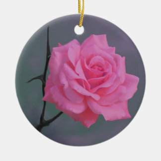 Soft Pink Rose Flower Round Ceramic Decoration
