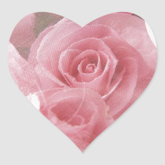 Soft Pink Rose Heart Sticker