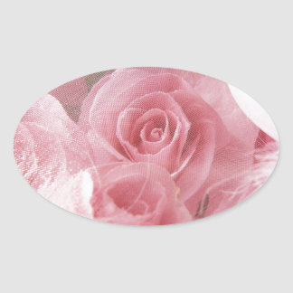 Soft Pink Rose Oval Sticker