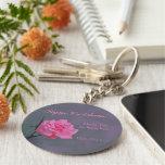 Soft Pink Rose Personalised Wedding Favour Key Basic Round Button Key Ring