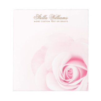 Soft pink rose personalized name or text notepad