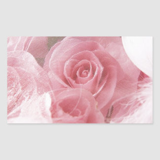 Soft Pink Rose Rectangular Sticker