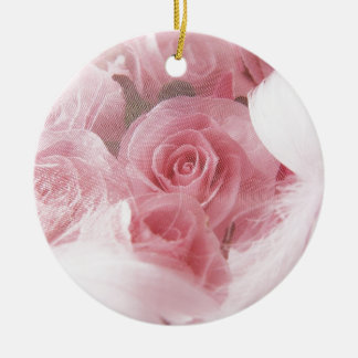 Soft Pink Rose Round Ceramic Decoration