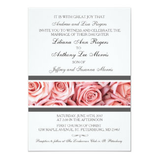Soft Pink Rose with Gray Wedding Invitation