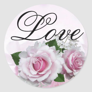 Soft Pink Roses Romantic Elegant Love Wedding Classic Round Sticker