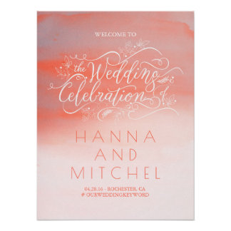Soft Pink Watercolor Wedding Welcome Sign Poster