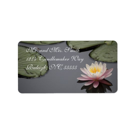 Soft Pink Waterlily Flower Address Label