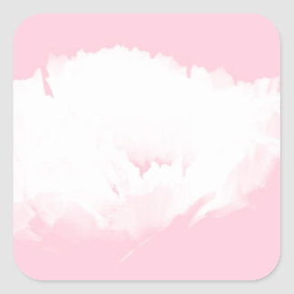 Soft Pink White Peony - Floral Square Sticker