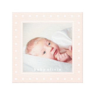 Soft Pink with White Polka Dots   Your Baby Photo Canvas Print