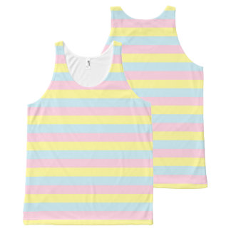 Soft Pink, Yellow and Blue Stripes All-Over Print Tank Top
