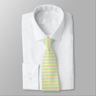 Soft Pink, Yellow and Green Stripes Tie