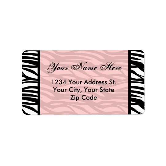 Soft Pink Zebra Address Labels