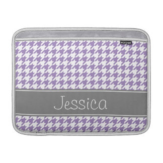 Soft Purple and Gray Houndstooth Personalized MacBook Sleeve