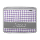Soft Purple and Grey Houndstooth Personalised MacBook Sleeve