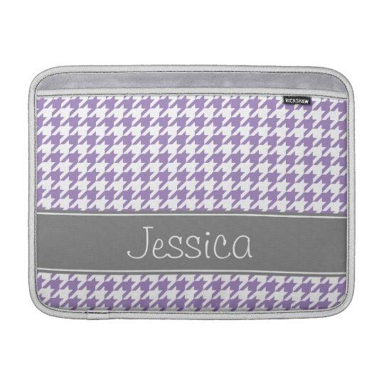 Soft Purple and Grey Houndstooth Personalised MacBook Sleeve