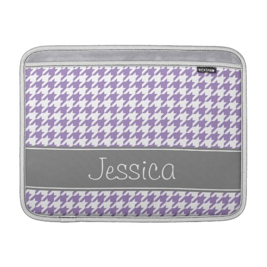 Soft Purple and Grey Houndstooth Personalised Sleeve For MacBook Air