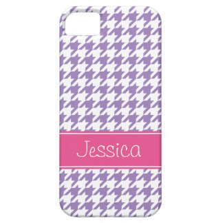 Soft Purple and Pink Houndstooth Personalized Case For The iPhone 5