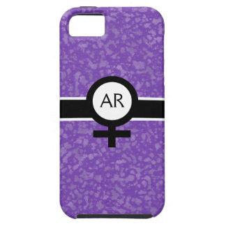 Soft Purple/Black/White+Female Sign+Your Initials Tough iPhone 5 Case