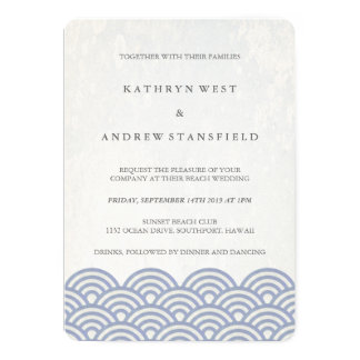 Soft Purple Blue Seigaiha Waves Elegant Wedding 13 Cm X 18 Cm Invitation Card