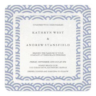 Soft Purple Blue Stylized Waves Modern Wedding 13 Cm X 13 Cm Square Invitation Card