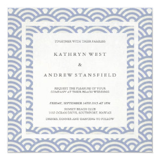 Soft Purple Blue Waves Elegant Beach Wedding 13 Cm X 13 Cm Square Invitation Card