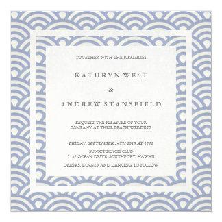 Soft Purple Blue Waves Elegant Beach Wedding 13 Cm X 13 Cm Square Invitation Card