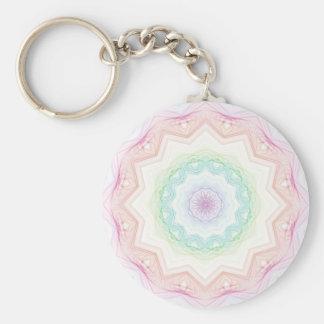 Soft Rainbow Spirograph Basic Round Button Key Ring