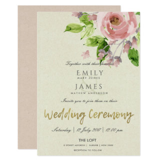 SOFT ROMANTIC BLUSH PINK WATERCOLOR FLORAL WEDDING CARD