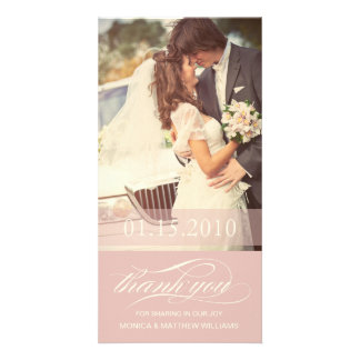 SOFT ROSE SCRIPT THANKS | WEDDING THANK YOU CARD PICTURE CARD