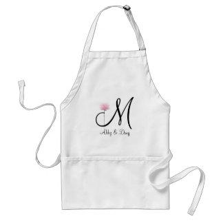 Soft rose with monogram standard apron